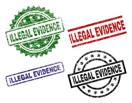 ILLEGAL EVIDENCE seal prints with corroded style. Black, green,red,blue vector rubber prints of ILLEGAL EVIDENCE title with corroded style. Rubber seals with circle, rectangle, medal shapes.