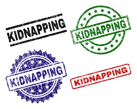 KIDNAPPING seal prints with damaged style. Black, green,red,blue vector rubber prints of KIDNAPPING tag with dirty style. Rubber seals with round, rectangle, rosette shapes.