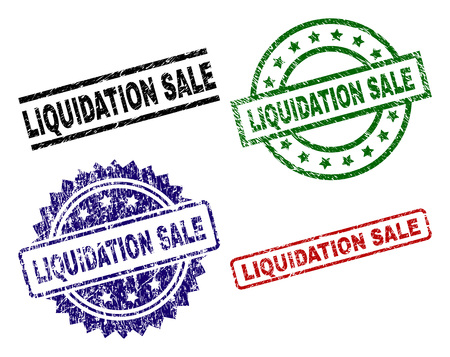 LIQUIDATION SALE seal prints with damaged surface. Black, green,red,blue vector rubber prints of LIQUIDATION SALE label with corroded surface. Rubber seals with circle, rectangle, medallion shapes.