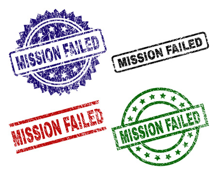 MISSION FAILED seal prints with corroded texture. Black, green,red,blue vector rubber prints of MISSION FAILED label with corroded style. Rubber seals with round, rectangle, medal shapes.