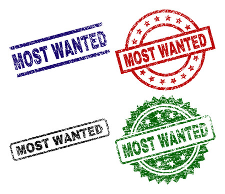 MOST WANTED seal prints with corroded surface. Black, green,red,blue vector rubber prints of MOST WANTED text with corroded style. Rubber seals with round, rectangle, rosette shapes.