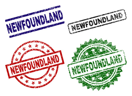 NEWFOUNDLAND seal prints with distress texture. Black, green,red,blue vector rubber prints of NEWFOUNDLAND caption with corroded texture. Rubber seals with round, rectangle, medallion shapes. Illustration