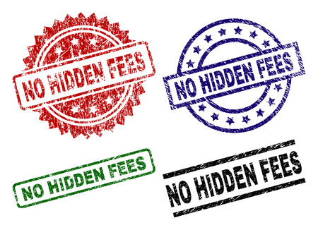 NO HIDDEN FEES seal prints with corroded texture. Black, green,red,blue vector rubber prints of NO HIDDEN FEES title with corroded texture. Rubber seals with round, rectangle, medal shapes.