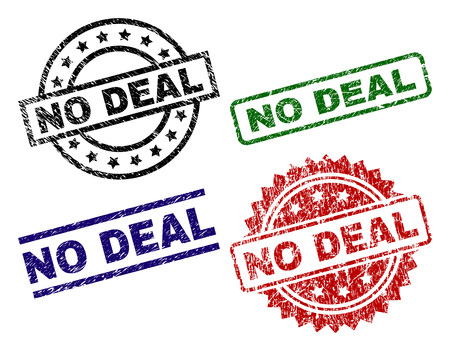 NO DEAL seal prints with corroded surface. Black, green,red,blue vector rubber prints of NO DEAL caption with corroded texture. Rubber seals with round, rectangle, medal shapes. Vector Illustration