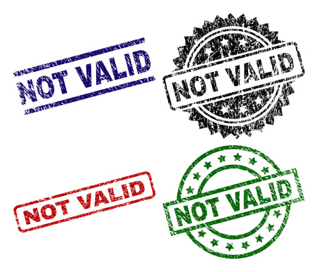 NOT VALID seal prints with distress surface. Black, green,red,blue vector rubber prints of NOT VALID label with corroded surface. Rubber seals with round, rectangle, medal shapes.