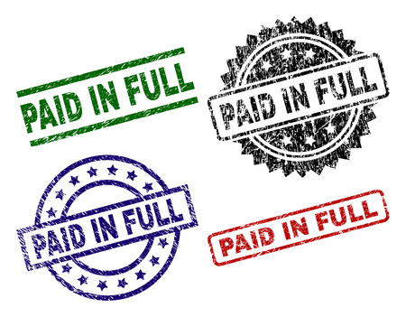 PAID IN FULL seal prints with distress surface. Black, green,red,blue vector rubber prints of PAID IN FULL tag with unclean surface. Rubber seals with circle, rectangle, rosette shapes.