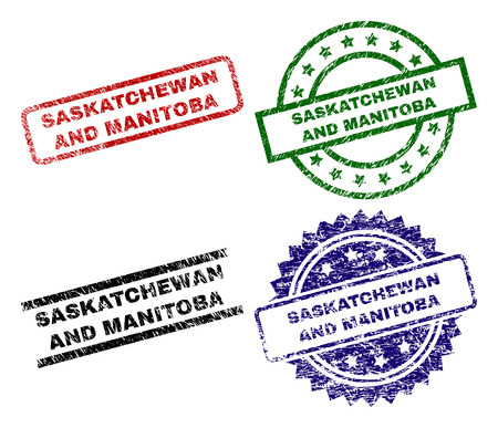 SASKATCHEWAN AND MANITOBA seal imprints with corroded texture. Black, green,red,blue vector rubber prints of SASKATCHEWAN AND MANITOBA text with corroded texture. Rubber seals with round, rectangle,