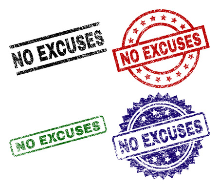 NO EXCUSES seal prints with damaged texture. Black, green,red,blue vector rubber prints of NO EXCUSES caption with dirty texture. Rubber seals with round, rectangle, medal shapes.