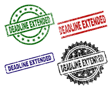 DEADLINE EXTENDED seal prints with distress texture. Black, green,red,blue vector rubber prints of DEADLINE EXTENDED label with dirty texture. Rubber seals with round, rectangle, medallion shapes. Ilustração
