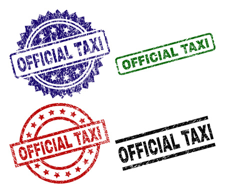 OFFICIAL TAXI seal stamps with corroded surface. Black, green,red,blue vector rubber prints of OFFICIAL TAXI tag with corroded surface. Rubber seals with round, rectangle, medal shapes.