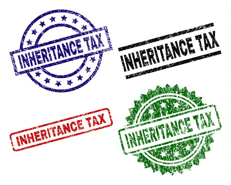 INHERITANCE TAX seal prints with damaged surface. Black, green,red,blue vector rubber prints of INHERITANCE TAX title with unclean surface. Rubber seals with circle, rectangle, medal shapes. Stock Illustratie