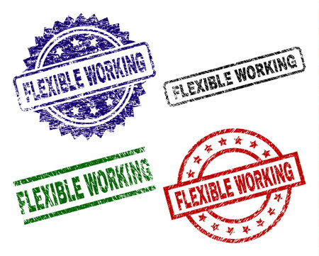 FLEXIBLE WORKING seal prints with damaged texture. Black, green,red,blue vector rubber prints of FLEXIBLE WORKING text with dirty texture. Rubber seals with circle, rectangle, rosette shapes.