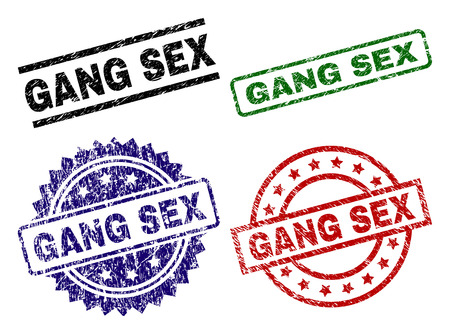 GANG SEX seal prints with corroded style. Black, green,red,blue vector rubber prints of GANG SEX caption with corroded style. Rubber seals with round, rectangle, medal shapes.
