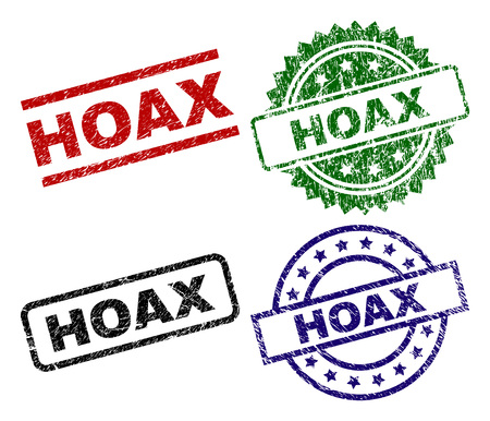HOAX seal prints with damaged texture. Black, green,red,blue vector rubber prints of HOAX label with retro texture. Rubber seals with circle, rectangle, rosette shapes.