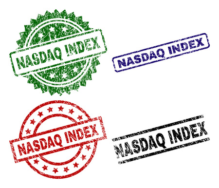 NASDAQ INDEX seal prints with corroded texture. Black, green,red,blue vector rubber prints of NASDAQ INDEX label with grunge texture. Rubber seals with round, rectangle, rosette shapes.