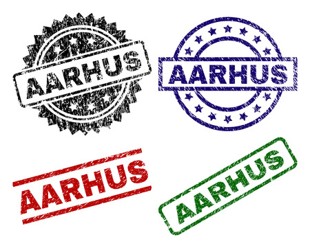 AARHUS seal prints with corroded texture. Black, green,red,blue vector rubber prints of AARHUS text with corroded texture. Rubber seals with round, rectangle, rosette shapes.