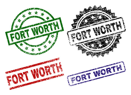 FORT WORTH seal imprints with distress style. Black, green,red,blue vector rubber prints of FORT WORTH caption with retro style. Rubber seals with round, rectangle, medallion shapes.