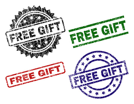 FREE GIFT seal prints with distress surface. Black, green,red,blue vector rubber prints of FREE GIFT caption with corroded surface. Rubber seals with round, rectangle, medal shapes.