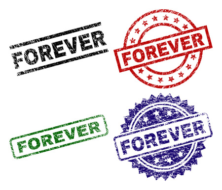 FOREVER seal prints with damaged surface. Black, green,red,blue vector rubber prints of FOREVER tag with dust surface. Rubber seals with circle, rectangle, medal shapes.