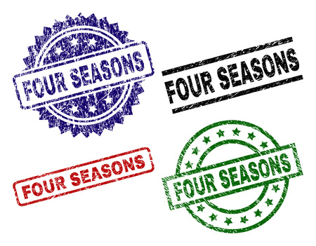 FOUR SEASONS seal imprints with distress texture. Black, green,red,blue vector rubber prints of FOUR SEASONS caption with unclean texture. Rubber seals with round, rectangle, rosette shapes.