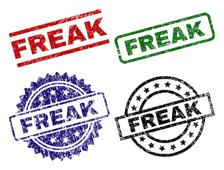 FREAK seal prints with corroded style. Black, green,red,blue vector rubber prints of FREAK label with corroded style. Rubber seals with circle, rectangle, medal shapes.