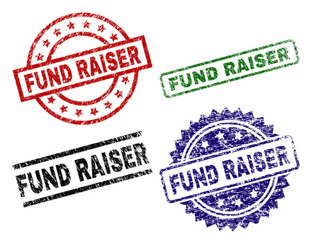 FUND RAISER seal prints with damaged texture. Black, green,red,blue vector rubber prints of FUND RAISER text with corroded texture. Rubber seals with round, rectangle, medal shapes. Stock Vector - 108026542