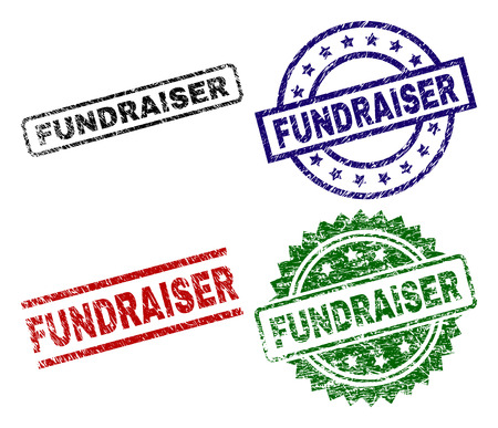 FUNDRAISER seal prints with corroded style. Black, green,red,blue vector rubber prints of FUNDRAISER caption with corroded texture. Rubber seals with circle, rectangle, rosette shapes. Illustration