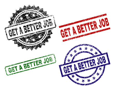 GET A BETTER JOB seal prints with damaged surface. Black, green,red,blue vector rubber prints of GET A BETTER JOB text with dirty surface. Rubber seals with round, rectangle, rosette shapes. Stock Illustratie