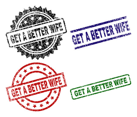 GET A BETTER WIFE seal prints with damaged style. Black, green,red,blue vector rubber prints of GET A BETTER WIFE title with grunge style. Rubber seals with circle, rectangle, rosette shapes. Stock Illustratie