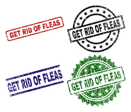 GET RID OF FLEAS seal stamps with corroded texture. Black, green,red,blue vector rubber prints of GET RID OF FLEAS text with grunge texture. Rubber seals with round, rectangle, medallion shapes. Illustration