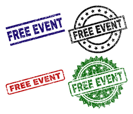 FREE EVENT seal prints with distress surface. Black, green,red,blue vector rubber prints of FREE EVENT text with corroded surface. Rubber seals with round, rectangle, rosette shapes.