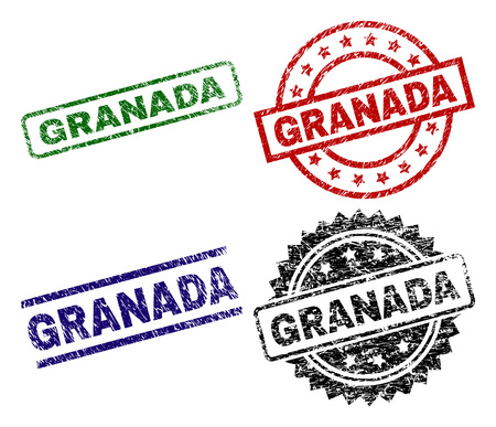 GRANADA seal prints with distress style. Black, green,red,blue vector rubber prints of GRANADA caption with grunge style. Rubber seals with circle, rectangle, medallion shapes.