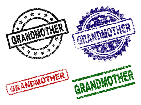 GRANDMOTHER seal prints with corroded texture. Black, green,red,blue vector rubber prints of GRANDMOTHER label with dirty texture. Rubber seals with round, rectangle, medal shapes.