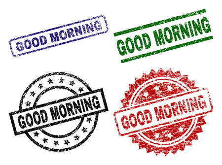 GOOD MORNING seal prints with damaged surface. Black, green,red,blue vector rubber prints of GOOD MORNING title with grunge style. Rubber seals with round, rectangle, medallion shapes.