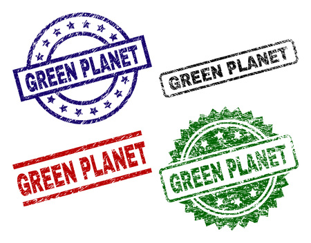 GREEN PLANET seal prints with distress style. Black, green,red,blue vector rubber prints of GREEN PLANET caption with unclean style. Rubber seals with round, rectangle, medallion shapes.