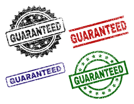 GUARANTEED seal stamps with damaged texture. Black, green,red,blue vector rubber prints of GUARANTEED caption with retro texture. Rubber seals with round, rectangle, medallion shapes.