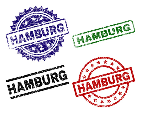 HAMBURG seal prints with corroded style. Black, green,red,blue vector rubber prints of HAMBURG label with grunge style. Rubber seals with round, rectangle, medallion shapes. Illustration