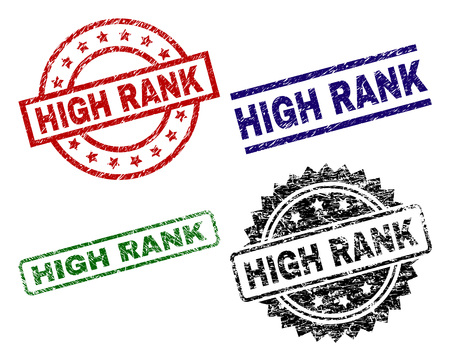 HIGH RANK seal prints with damaged texture. Black, green,red,blue vector rubber prints of HIGH RANK text with corroded texture. Rubber seals with circle, rectangle, medal shapes. Illustration