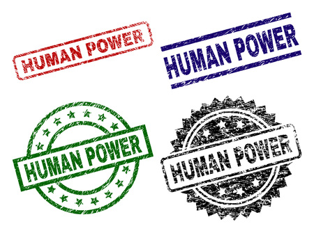 HUMAN POWER seal imprints with corroded style. Black, green,red,blue vector rubber prints of HUMAN POWER caption with corroded style. Rubber seals with round, rectangle, medallion shapes.