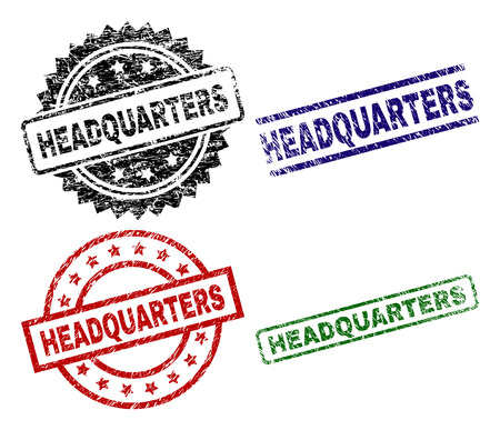 HEADQUARTERS seal prints with distress style. Black, green,red,blue vector rubber prints of HEADQUARTERS title with dirty style. Rubber seals with circle, rectangle, medal shapes.