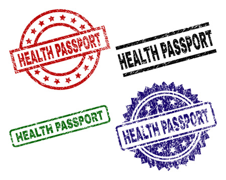 HEALTH PASSPORT seal prints with distress style. Black, green,red,blue vector rubber prints of HEALTH PASSPORT tag with unclean texture. Rubber seals with round, rectangle, rosette shapes. Standard-Bild - 110170134