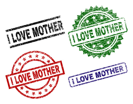 I LOVE MOTHER seal prints with damaged style. Black, green,red,blue vector rubber prints of I LOVE MOTHER caption with grunge texture. Rubber seals with round, rectangle, rosette shapes.
