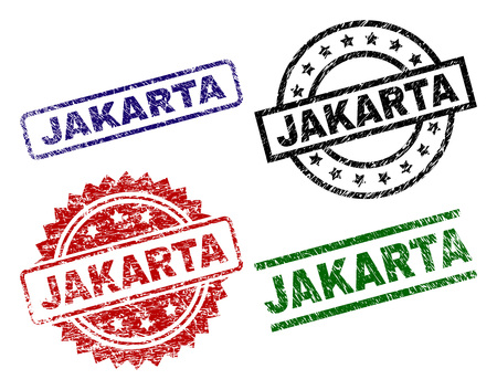 JAKARTA seal prints with damaged surface. Black, green,red,blue vector rubber prints of JAKARTA text with unclean surface. Rubber seals with round, rectangle, rosette shapes.