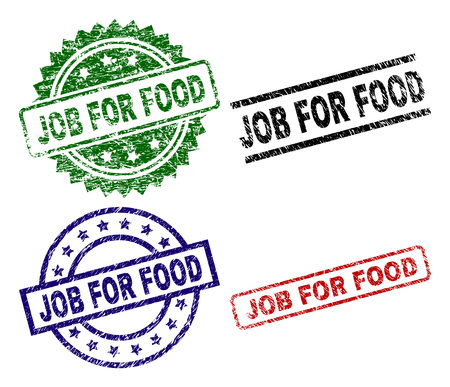 JOB FOR FOOD seal stamps with corroded surface. Black, green,red,blue vector rubber prints of JOB FOR FOOD tag with dirty surface. Rubber seals with circle, rectangle, medallion shapes.