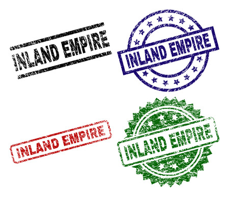 INLAND EMPIRE seal stamps with corroded style. Black, green,red,blue vector rubber prints of INLAND EMPIRE tag with corroded style. Rubber seals with round, rectangle, rosette shapes.