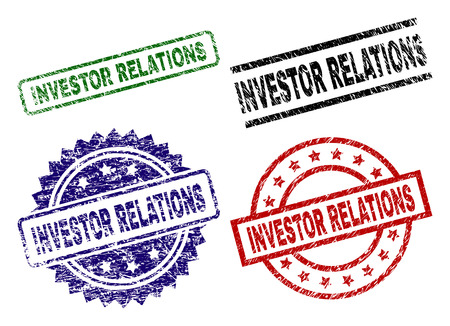 INVESTOR RELATIONS seal prints with distress texture. Black, green,red,blue vector rubber prints of INVESTOR RELATIONS title with corroded texture. Rubber seals with round, rectangle,