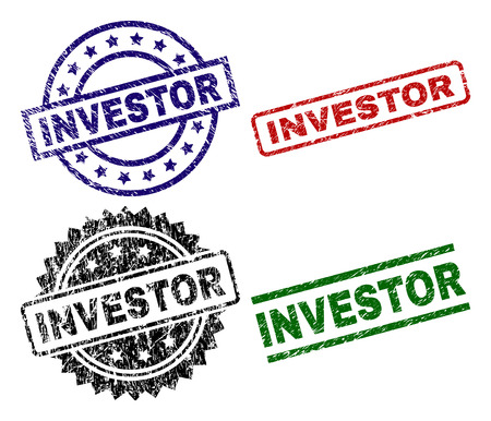 INVESTOR seal prints with damaged texture. Black, green,red,blue vector rubber prints of INVESTOR label with grunge texture. Rubber seals with circle, rectangle, medal shapes.