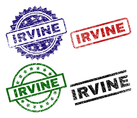 IRVINE seal prints with damaged surface. Black, green,red,blue vector rubber prints of IRVINE label with dust surface. Rubber seals with circle, rectangle, medallion shapes.