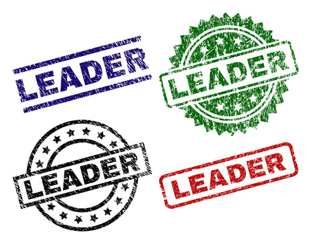LEADER seal prints with distress texture. Black, green,red,blue vector rubber prints of LEADER tag with dirty surface. Rubber seals with circle, rectangle, medal shapes.