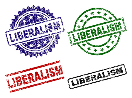 LIBERALISM seal prints with distress style. Black, green,red,blue vector rubber prints of LIBERALISM text with grunge style. Rubber seals with round, rectangle, rosette shapes.